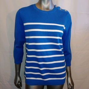 Ralph Lauren Royal Blue & White Sweater - XL - B10